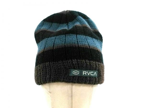 RVCA(ルーカ) ニット帽美品  ダークブラウン×グレー×黒 ボーダー アクリル