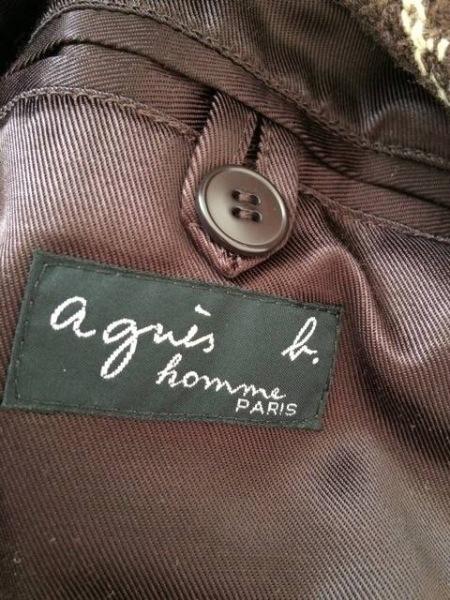 アニエスベー コート サイズ48 L メンズ美品  ダークブラウン×アイボリー×グレー
