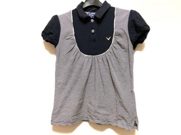 CALLAWAY(キャロウェイ) 半袖ポロシャツ サイズM レディース ネイビー×白 ボーダー
