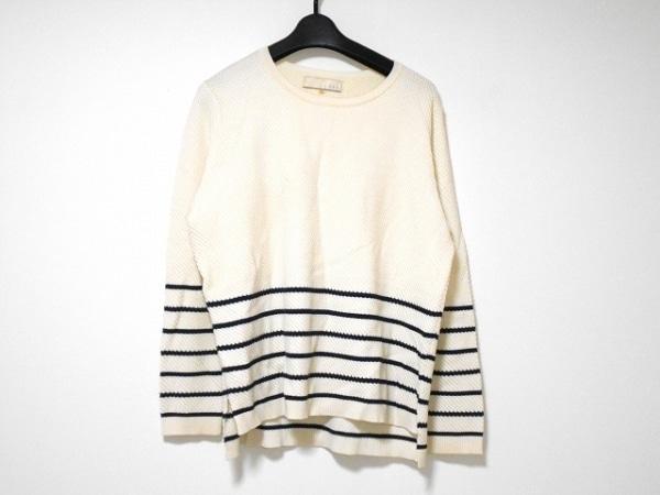 ジユウク 長袖セーター サイズ44 L レディース美品  アイボリー×ダークネイビー