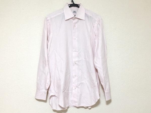 BARBA(バルバ) 長袖シャツ サイズ40 M メンズ美品  ピンク×白×ブルー ストライプ