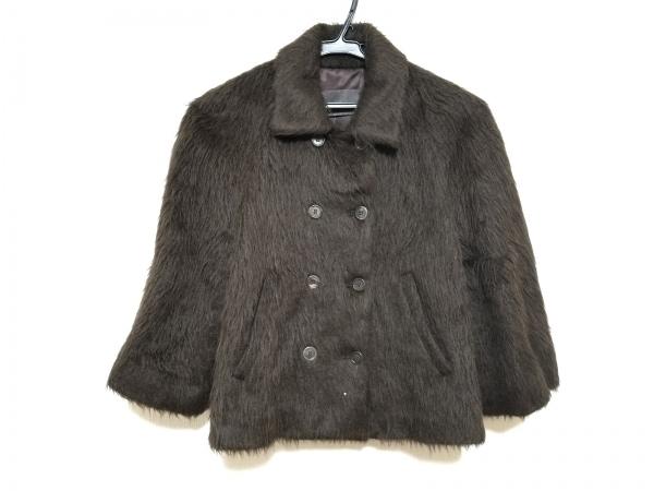 カルソン コート サイズ38 M レディース美品  ダークブラウン 冬物/ショート丈