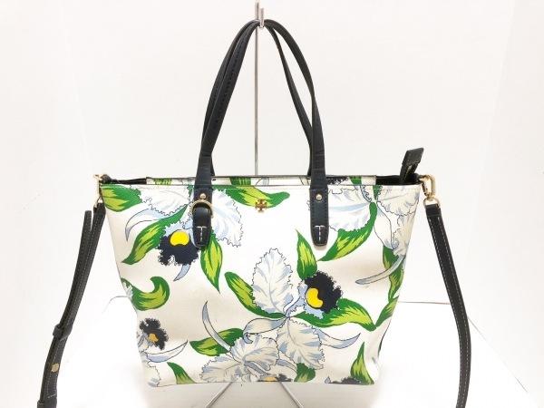 TORY BURCH(トリーバーチ) ハンドバッグ 白×ダークネイビー×マルチ 花柄