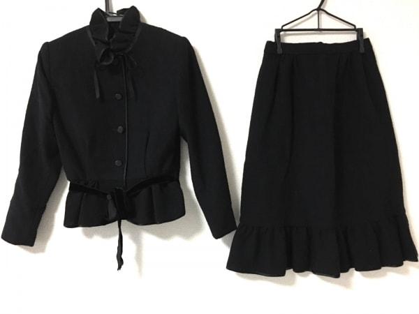JUN ASHIDA(ジュンアシダ) スカートスーツ サイズ7 S レディース美品  黒 フリル