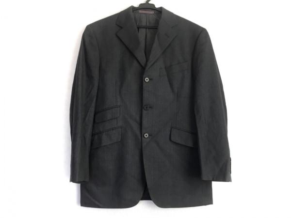 PAZZO(パッゾ) ジャケット メンズ美品  ダークグレー×ブルー 肩パッド/ストライプ