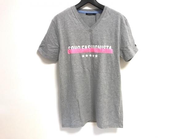 ギルドプライム 半袖Tシャツ サイズ1 S メンズ美品  ライトグレー×白×ピンク