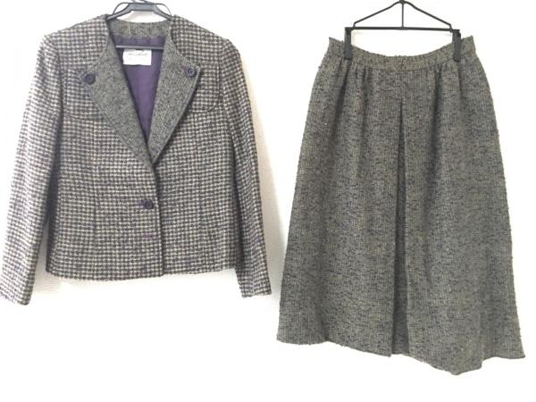 ジュンアシダ スカートスーツ サイズ7 S レディース ベージュ×パープル×グリーン