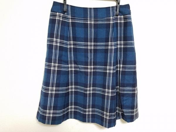 ヨークランド スカート サイズ11 M レディース ブルー×白×ネイビー チェック柄