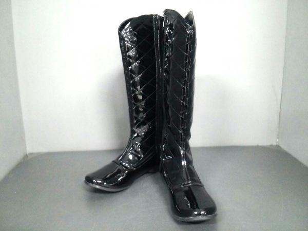 CLATHAS(クレイサス) ロングブーツ 40 レディース美品  黒×白 フラワー/キルティング