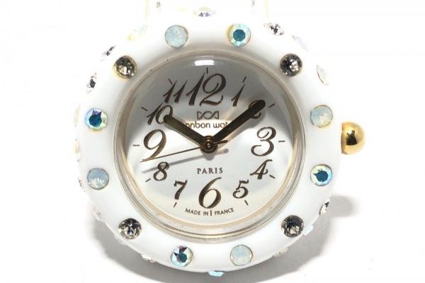 ボンボンウォッチ 腕時計 - レディース 革ベルト/ラインストーン/裏スケ 白