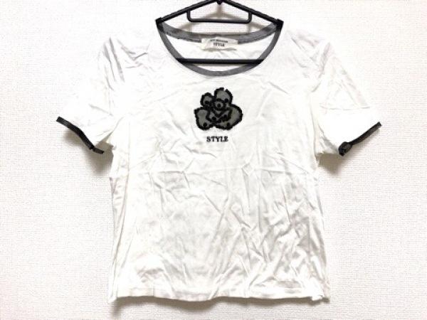 コージワタナベ スタイル 半袖カットソー サイズM レディース 白×黒 スパンコール