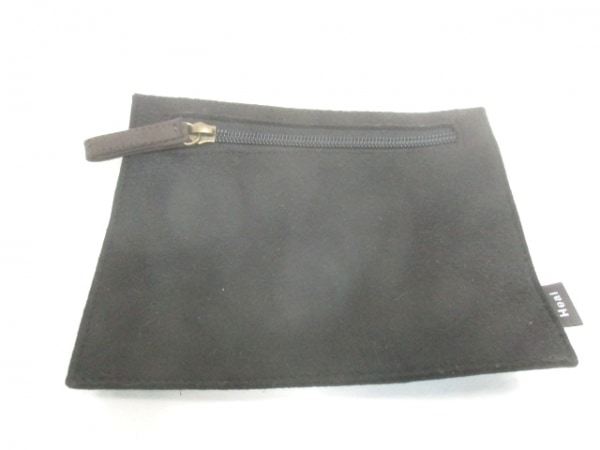 ヒールクリーク ハンドバッグ ブラウン×黒×ダークブラウン 化学繊維×レザー