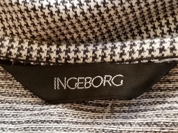 INGEBORG(インゲボルグ) ジャケット レディース ライトグレー×黒 リボン/薄手