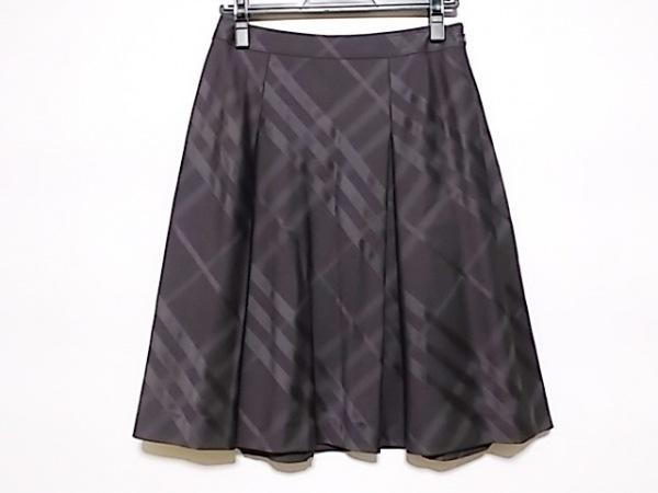 バーバリーロンドン スカート サイズ38 L レディース美品  ダークパープル チェック柄