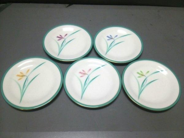 コウランシャ プレート新品同様  白×ライトグリーン×マルチ プレート×5/花柄 陶器