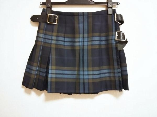 O'NEIL(オニール) ミニスカート サイズ40 M レディース ネイビー×ブルー×マルチ
