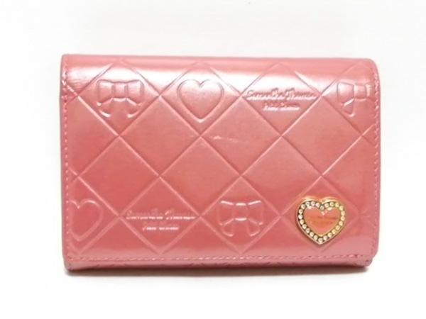 サマンサタバサプチチョイス 2つ折り財布 ピンク 型押し加工/ハート/ラインストーン
