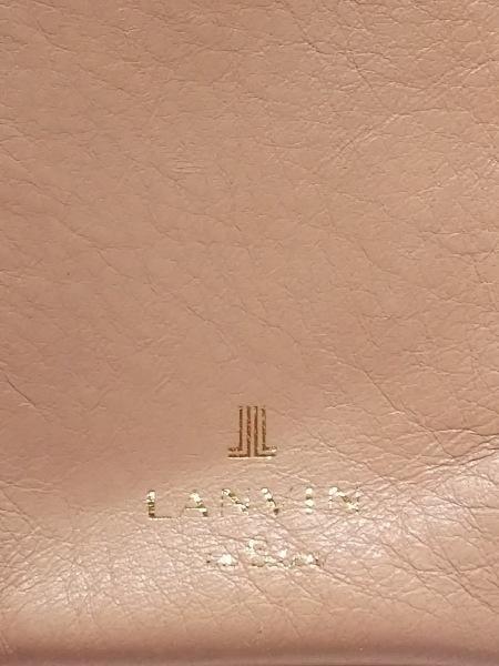 ランバンオンブルー 2つ折り財布 ベージュ×アイボリー がま口/フェイクパール レザー