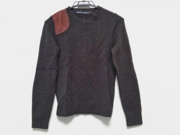 RalphLauren(ラルフローレン) 長袖セーター サイズM レディース カーキ×ブラウン