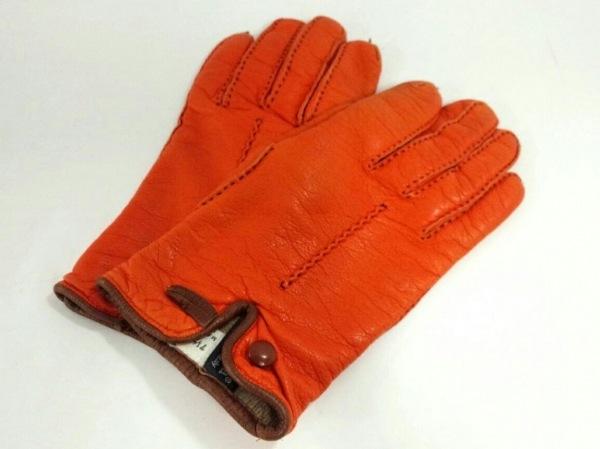 MADOVA(マドヴァ) 手袋 レディース オレンジ×ダークブラウン レザー