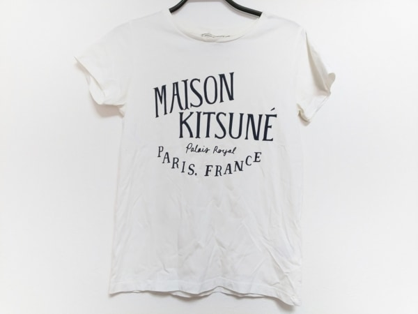 MAISON KITSUNE(メゾンキツネ) 半袖Tシャツ サイズXS レディース アイボリー×黒
