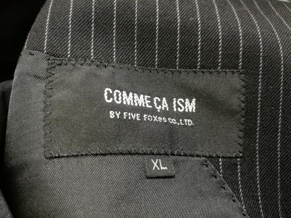 コムサイズム シングルスーツ メンズ 黒×ダークグレー ストライプ/肩パッド