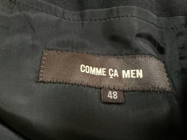 COMME CA MEN(コムサメン) シングルスーツ メンズ 黒×ネイビー チェック柄/肩パッド
