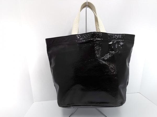 TELLUS(テルース) トートバッグ美品  黒×白 エナメル(レザー)