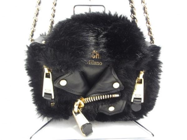 モスキーノ ショルダーバッグ美品  黒 ライダースジャケット型/チェーンショルダー