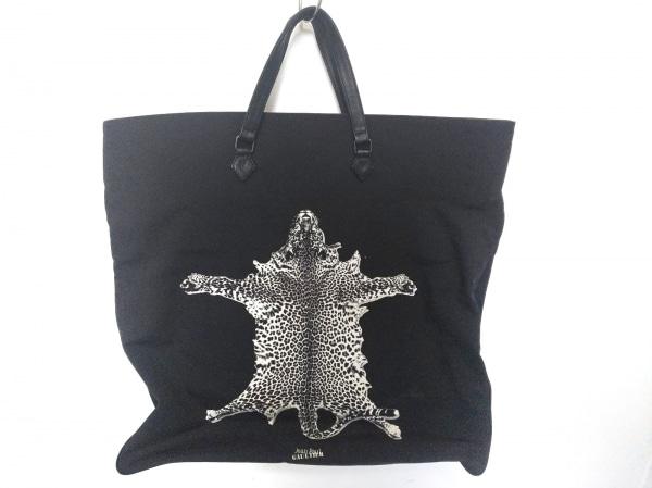 JeanPaulGAULTIER(ゴルチエ) トートバッグ 黒×白×グレー 豹 ナイロン×レザー