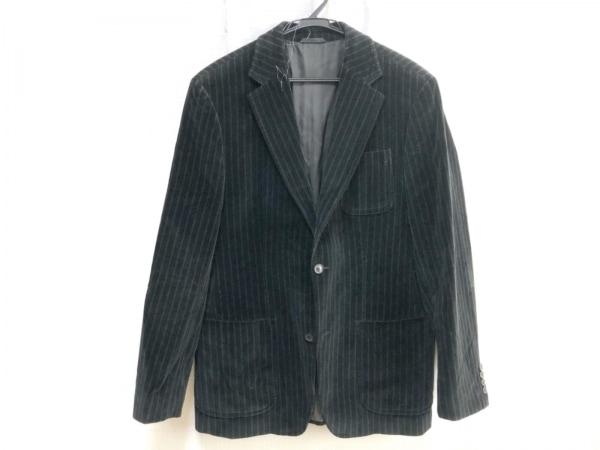 HUGOBOSS(ヒューゴボス) ジャケット メンズ 黒×ダークグリーン ストライプ/ベロア
