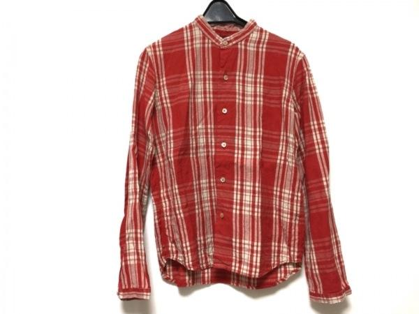 ブルーナボイン 長袖シャツ サイズ00 XS メンズ レッド×ベージュ チェック柄