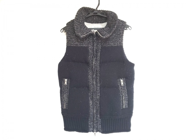 BLUE WORK(ブルーワーク) ダウンジャケット サイズ1 S メンズ 黒×白 冬物