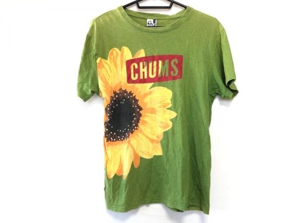 チャムス 半袖Tシャツ サイズM メンズ ライトグリーン×イエロー×マルチ フラワー