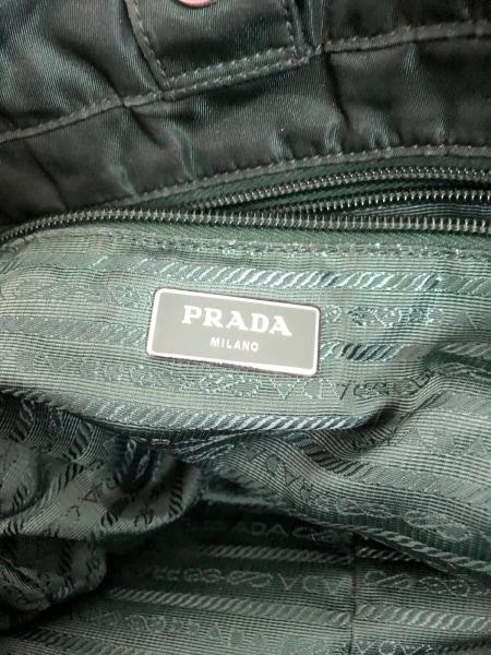 PRADA(プラダ) ハンドバッグ - グリーン ナイロン×レザー