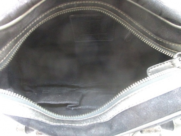 COACH(コーチ) ハンドバッグ シグネチャー柄 8K40 黒×シルバー ジャガード×レザー