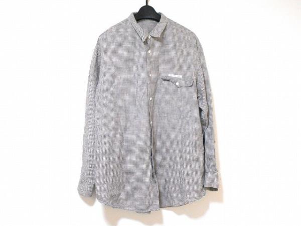 Papas(パパス) 長袖シャツ サイズL メンズ美品  アイボリー×ダークグレー チェック柄