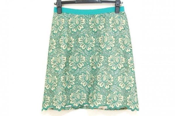 サカイラック スカート サイズ2 M レディース新品同様  グリーン×ベージュ 花柄/刺繍