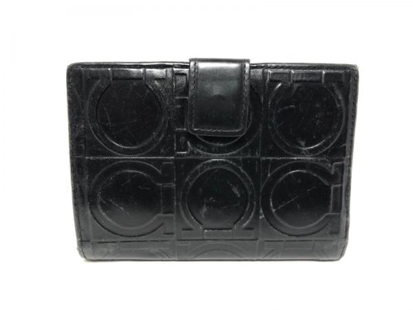 サルバトーレフェラガモ Wホック財布 ガンチーニ 黒 型押し加工 レザー
