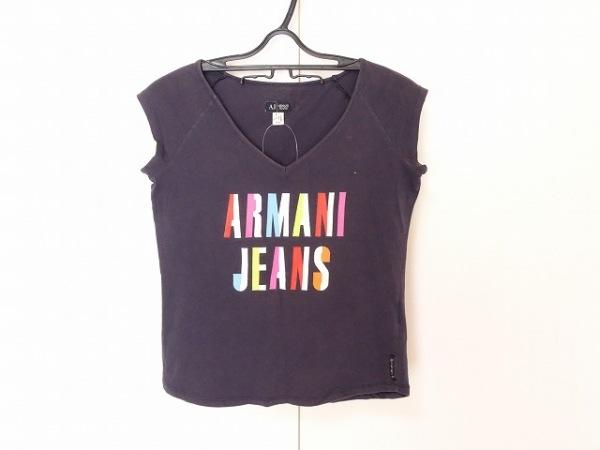 アルマーニジーンズ 半袖Tシャツ サイズ40 M レディース ダークネイビー×マルチ