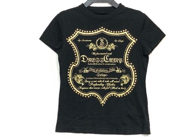 ドレスキャンプ 半袖Tシャツ サイズ38 M レディース 黒×ゴールド ラメ/スタッズ