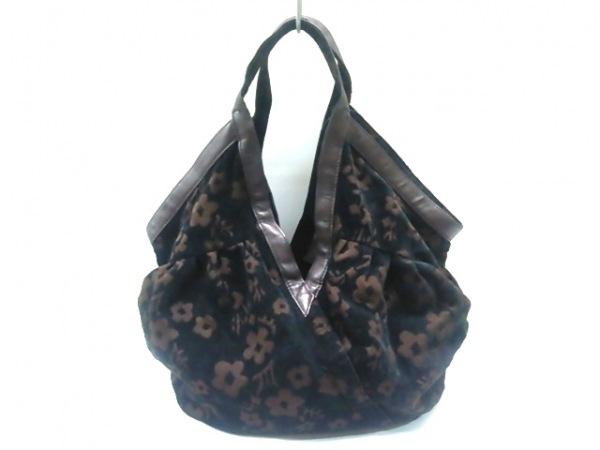 レイジースーザン トートバッグ 黒×ダークブラウン 花柄 コーデュロイ××合皮