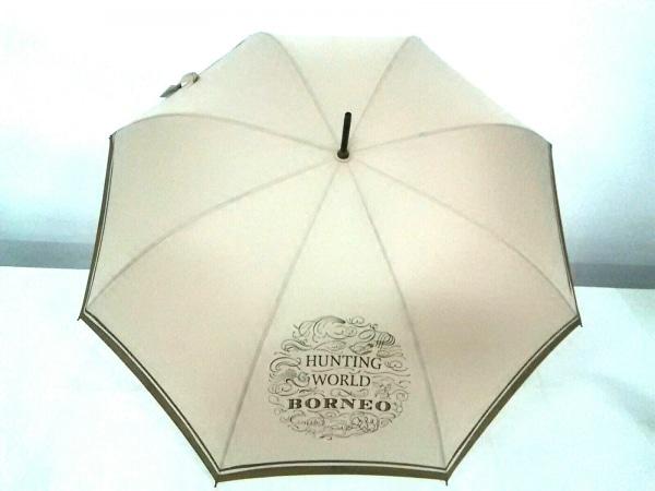 HUNTING WORLD(ハンティングワールド) 傘美品  ベージュ×ダークブラウン 化学繊維