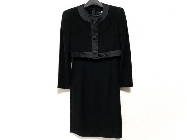 SOIR BENIR(ソワールベニール) ワンピーススーツ サイズ7 S レディース 黒 肩パッド