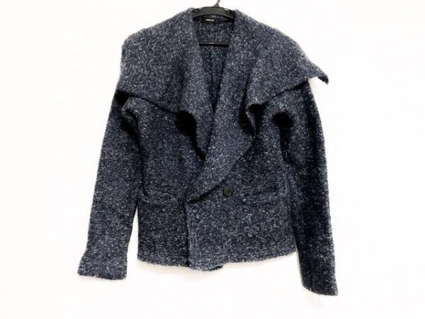 コムサイズム コート サイズM レディース美品  ブルー×白×ダークネイビー