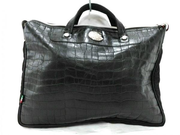 OROBIANCO(オロビアンコ) ビジネスバッグ 黒 型押し加工 レザー×ナイロン