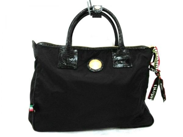 OROBIANCO(オロビアンコ) ビジネスバッグ美品  黒 一部型押し加工 ナイロン×レザー