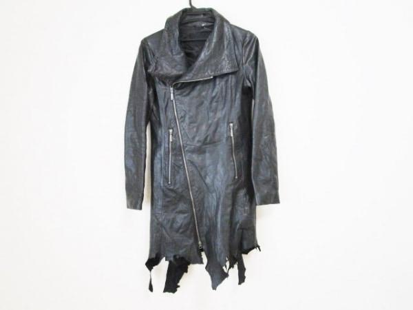 ヤスユキイシイ コート サイズM メンズ 黒 切りっぱなし加工/レザー/冬物
