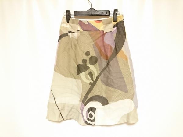 AKRIS(アクリス) スカート サイズ4 XL レディース ベージュ×黒×マルチ