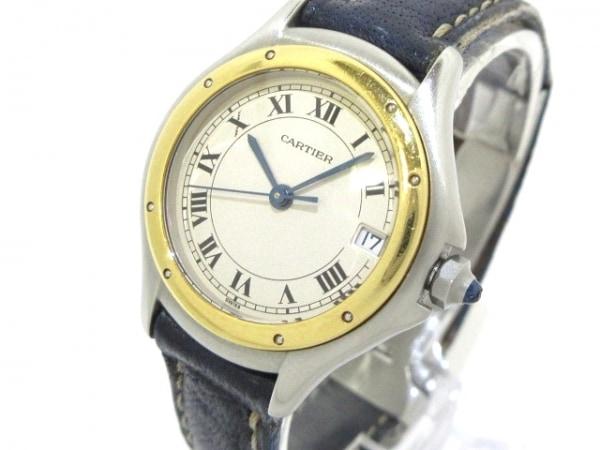 カルティエ 腕時計 サントスクーガー - レディース SS×K18YG/革ベルト アイボリー